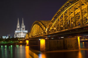 Cologne at night with bridge
